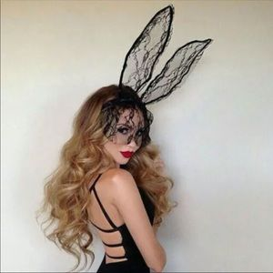 Accessories - NEW! Black Lace Rabbit Ear Mask Halloween Costume